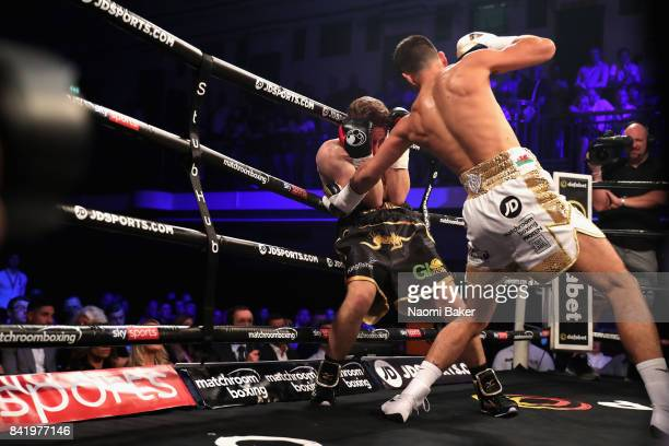 Joe Cordina throws a punch at Jamie Speight during the JDNXTGEN Boxing Series at York Hall on September 1 2017 in London England
