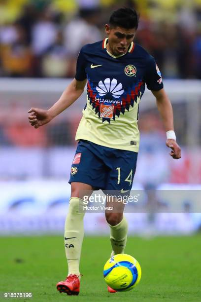 Joe Corona of America drives the ball during the 7th round match between America and Monarcas as part of the Torneo Clausura 2018 Liga MX at Azteca...