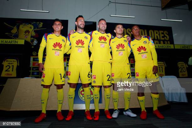 Joe Corona Victor Aguilera Jeremy Menez Henry Martin and AndrŽes Ibarguen pose during the press conference to announce Club America's new players at...