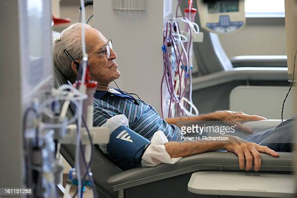Joe Corrigan who has been on dialysis for almost 3 years rests during his procedure Patients receive dialysis at Western Nephrology at 8410 Decatur...