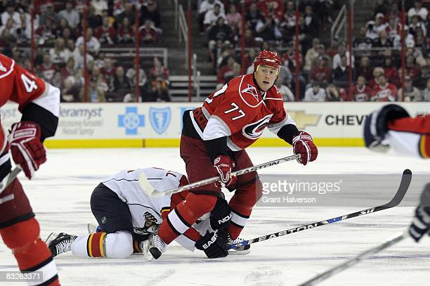 Joe Corvo of the Carolina Hurricanes skates during the game against the Florida Panthers on October 10, 2008 at the RBC Center in Raleigh, North...
