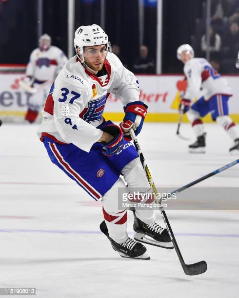 Joe Cox of the Laval Rocket skates against the Providence Bruins at Place Bell on October 16 2019 in Laval Canada The Laval Rocket defeated the...