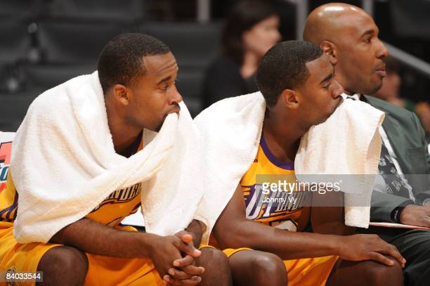 Joe Crawford and Brandon Heath of the Los Angeles DFenders look on from the bench during their game against the Bakersfield Jam at Staples Center on...