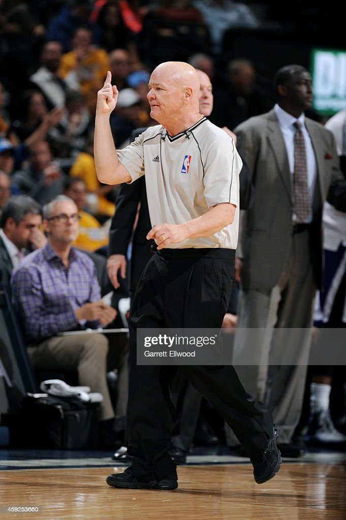 Joe Crawford handles the game between the Sacramento Kings and Denver Nuggets on November 3, 2014 at the Pepsi Center in Denver, Colorado.