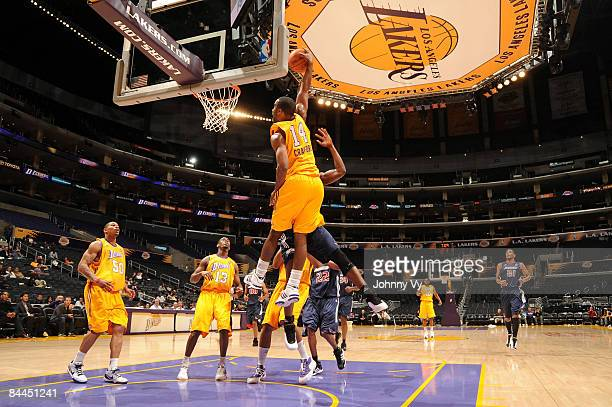 Joe Crawford of the Los Angeles DFenders goes up for a dunk during a game against the Anaheim Arsenal at Staples Center on January 25 2009 in Los...