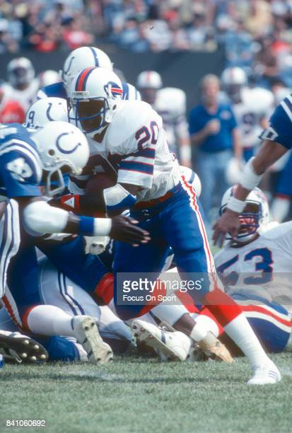Joe Cribbs of the Buffalo Bills carries the ball against the Baltimore Colts during an NFL football game September 13 1981 at Memorial Stadium in...