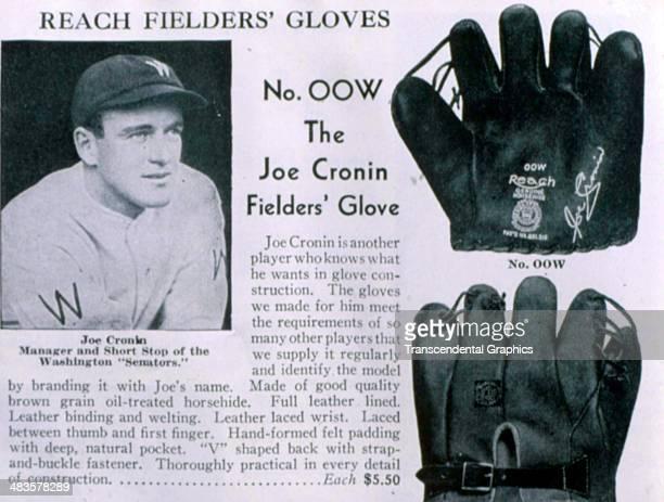 Joe Cronin advertises a baseball glove in a Reach catalog produced in 1931 in Philadelphia, Pennsylvania.
