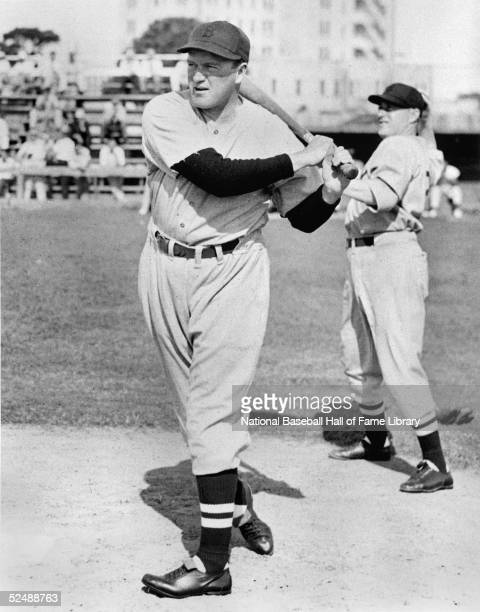 Joe Cronin of the Boston Red Sox poses for an action portrait. Cronin played for the Sox from 1935-45.