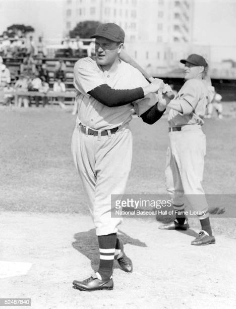 Joe Cronin of the Boston Red Sox warms up before a game. Joseph Edward Cronin played for the Boston Red Sox from 1935-45.