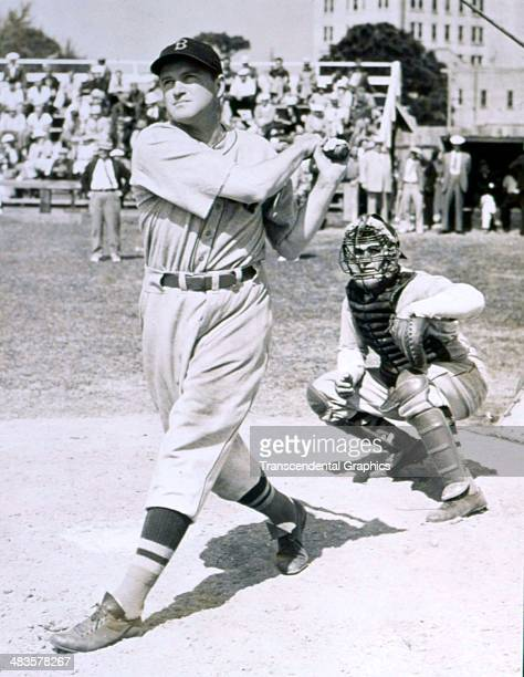 Joe Cronin, shortstop and manager for the Boston Red Sox works out at spring training in March of 1939 in Sarasota, Florida.
