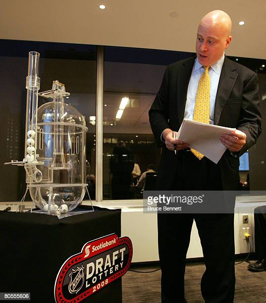 Joe Crotty of Ernst Young announces the order of balls during the 2008 NHL Draft Drawing on April 7 2008 at the National Hockey League headquarters...