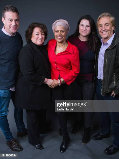Joe Daniels Susan Lacy Amy L Kaufman and Jim Steyer pose for a portrait during the Jury Welcome Lunch 2018 Tribeca Film Festival at Tribeca Film...