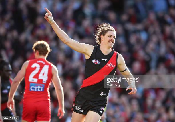 Joe Daniher of the Bombers celebrates a goal during the AFL Second Elimination Final match between the Sydney Swans and the Essendon Bombers at...