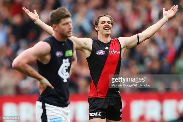 Joe Daniher of the Bombers celebrates a goal during the round 23 AFL match between the Essendon Bombers and the Carlton Blues at Melbourne Cricket...
