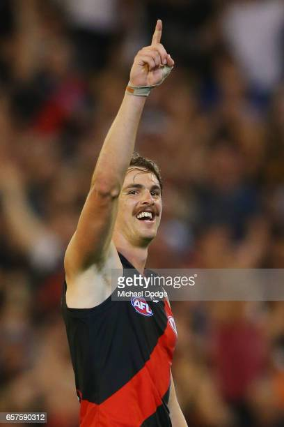 Joe Daniher of the Bombers celebrates a goal during the round one AFL match between the Essendon Bombers and the Hawthorn Hawks at Melbourne Cricket...