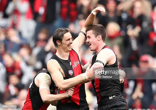 Joe Daniher of the Bombers celebrates after kicking a goal during the round 23 AFL match between the Essendon Bombers and the Carlton Blues at...