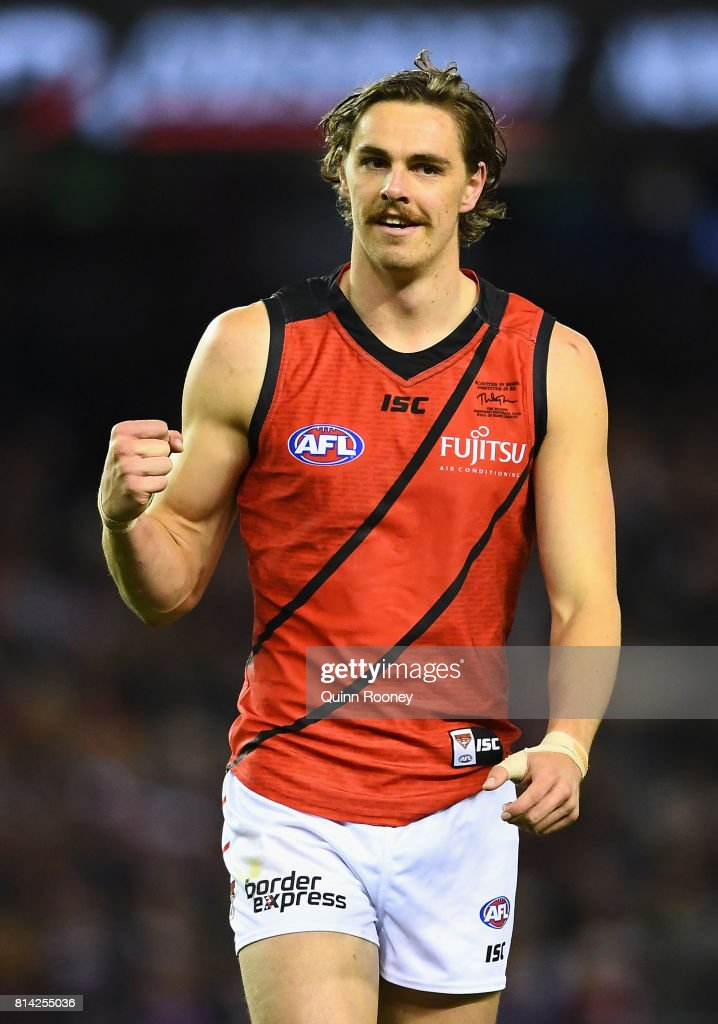 Joe Daniher of the Bombers celebrates kicking a goal during the round 17 AFL match between the St Kilda Saints and the Essendon Bombers at Etihad Stadium on July 14, 2017 in Melbourne, Australia.