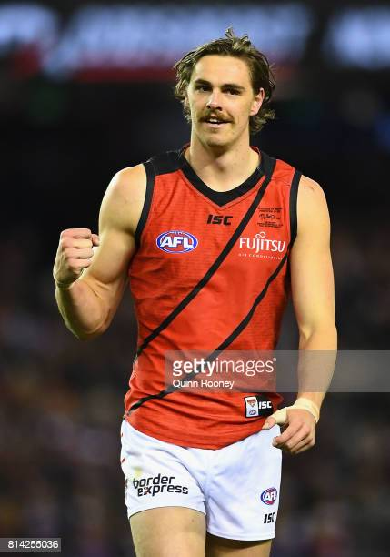Joe Daniher of the Bombers celebrates kicking a goal during the round 17 AFL match between the St Kilda Saints and the Essendon Bombers at Etihad...