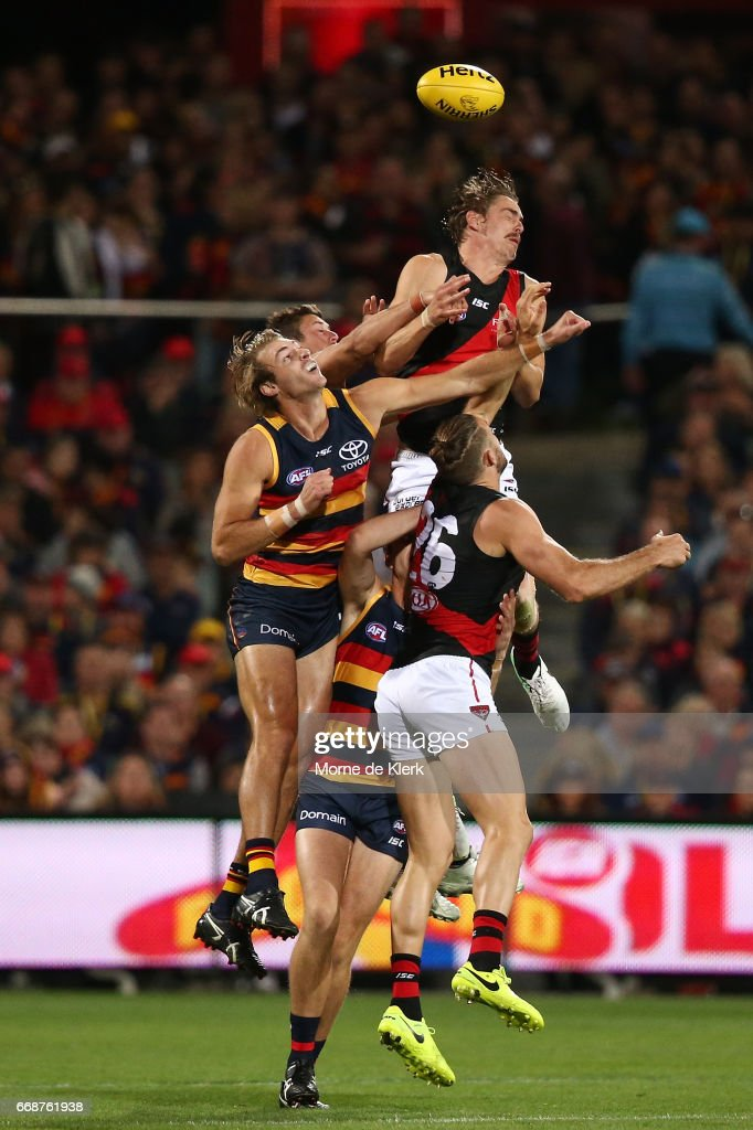 Joe Daniher of the Bombers competes for a mark during the round four AFL match between the Adelaide Crows and the Essendon Bombers at Adelaide Oval on April 15, 2017 in Adelaide, Australia.