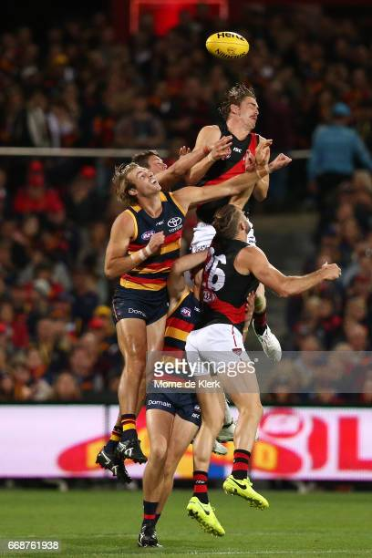 Joe Daniher of the Bombers competes for a mark during the round four AFL match between the Adelaide Crows and the Essendon Bombers at Adelaide Oval...