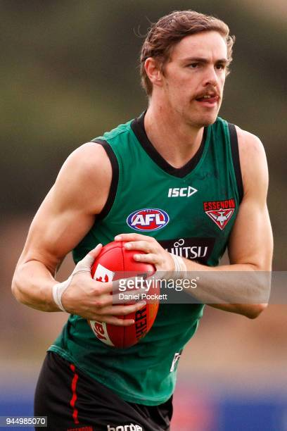 Joe Daniher of the Bombers in action during an Essendon Bombers AFL training session at the Essendon Football Club on April 12 2018 in Melbourne...