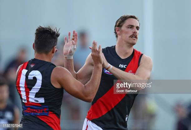 Joe Daniher of the Bombers is congratulated by Mark Baguley of the Bombers and his teammates after kicking a goal during the 2019 JLT Community...