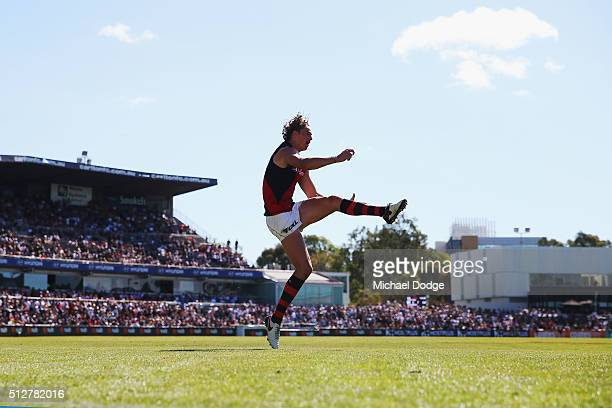 Joe Daniher of the Bombers kicks the ball for a goal during the 2016 AFL NAB Challenge match between Carlton and Essendon at Ikon Park on February 28...