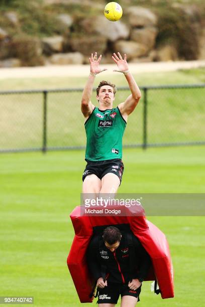 Joe Daniher of the Bombers marks the ball during an Essendon Bombers AFL training session at The Hangar on March 20 2018 in Melbourne Australia
