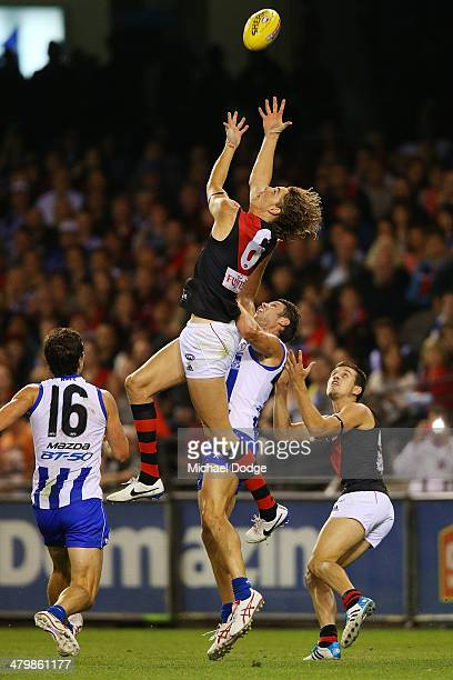 Joe Daniher of the Bombers marks the ball during the round one AFL match between the North Melbourne Kangaroos and the Essendon Bombers at Etihad...