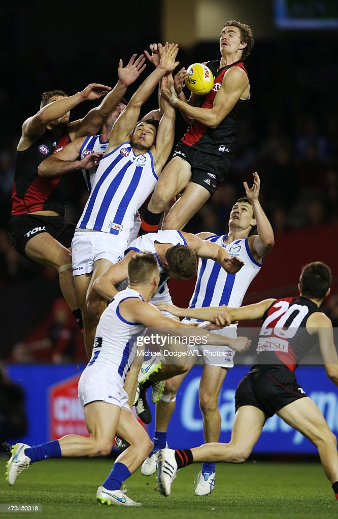 Joe Daniher of the Bombers marks the ball during the round seven AFL match between the Essendon Bombers and the North Melbourne Kangaroos at Etihad Stadium on May 15, 2015 in Melbourne, Australia.