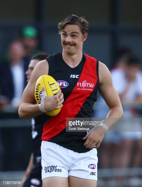 Joe Daniher of the Bombers reacts after marking the ball in the opening minutes and then kicks a goal during the 2019 JLT Community Series AFL match...