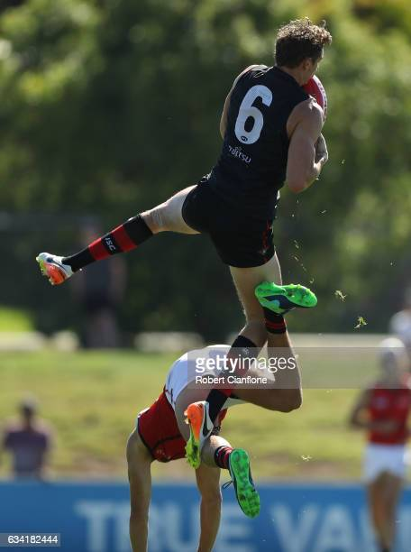 Joe Daniher of the Bombers takes a mark during the Essendon Bombers AFL intraclub match at True Value Solar Centre on February 8 2017 in Melbourne...