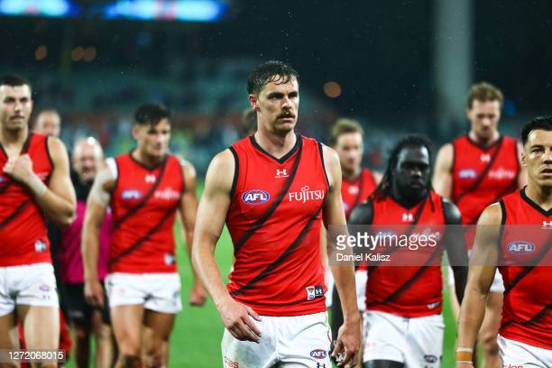 Joe Daniher of the Bombers walks from the ground during the round 17 AFL match between the Port Adelaide Power and the Essendon Bombers at Adelaide...