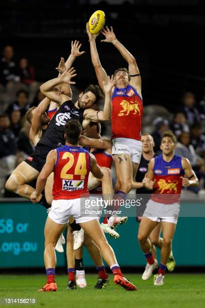 Joe Daniher of the Lions attempts to mark the ball during the round six AFL match between the Carlton Blues and the Brisbane Lions at Marvel Stadium...
