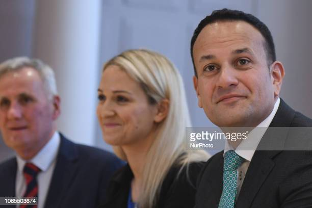Joe D'Arcy Adviser for the Taoiseach on Northern Ireland Helen McEntee Minister of State for European Affairs Taoiseach Leo Varadkar during the...
