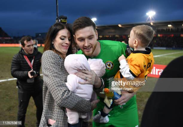 Joe Day of Newport County AFC is seen with wife and his twins prior to the FA Cup Fifth Round match between Newport County AFC and Manchester City at...