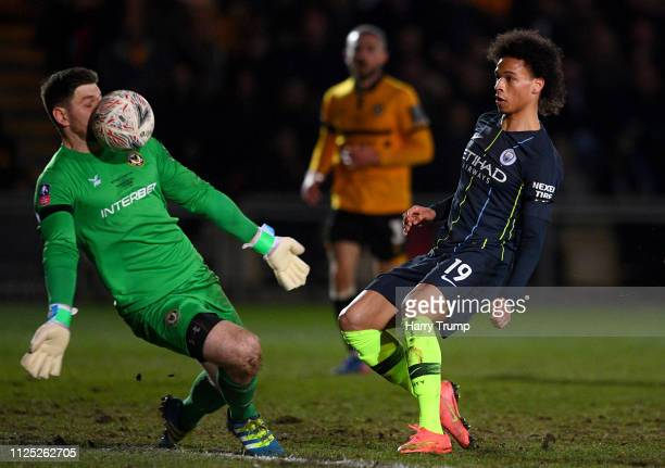 Joe Day of Newport County makes a save during the FA Cup Fifth Round match between Newport County AFC and Manchester City at Rodney Parade on...
