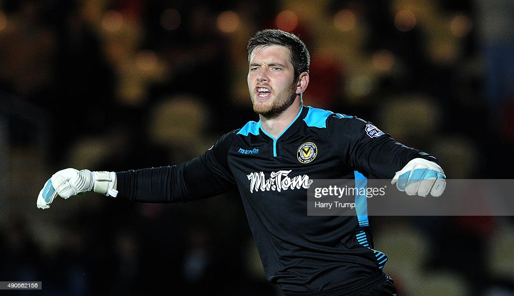 Joe Day of Newport County reacts during the Sky Bet League Two match between Newport County and Crawley Town at Rodney Parade on September 29, 2015 in Newport, Wales.