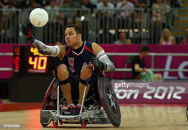 Joe Delagrave of the United Statesd in action during the Bronze Medal match of Mixed Wheelchair Rugby against Japan on day 11 of the London 2012...