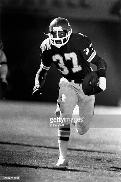 Joe Delaney of the Kansas City Chiefs runs with the ball during an NFL game circa 1981 at the Arrowhead Stadium in Kansas City Missouri