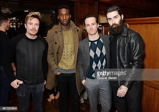 Joe Dempsie Nathan StewartJarrett Andrew Scott and Chris John Millington attend the Pringe Of Scotland Autumn/Winter 2014 menswear runway show during...