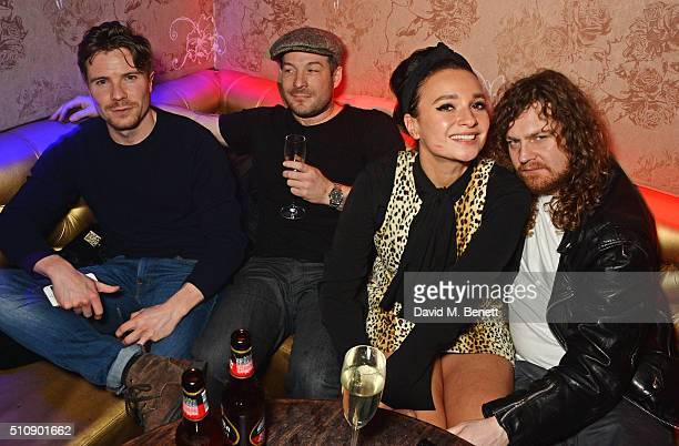 Joe Dempsie Neil Rankin Gizzi Erskine and Same Old Sean attend the Ciroc NME Awards 2016 after party hosted by Fran Cutler at The Cuckoo Club on...