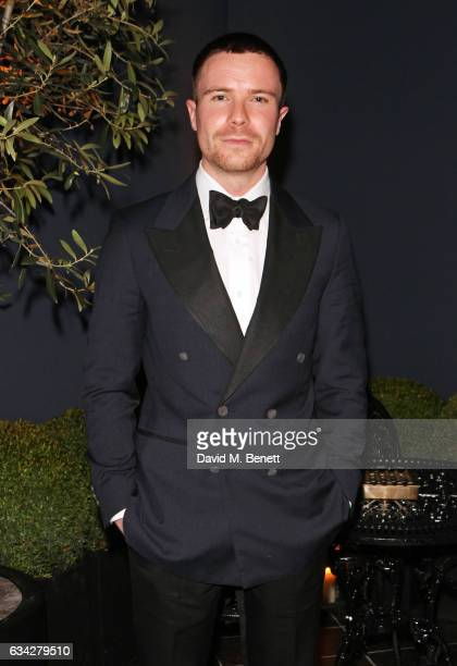 Joe Dempsie wearing dunhill attends the dunhill and Dylan Jones preBAFTA dinner and cocktail reception celebrating Gentlemen in Film at Bourdon House...