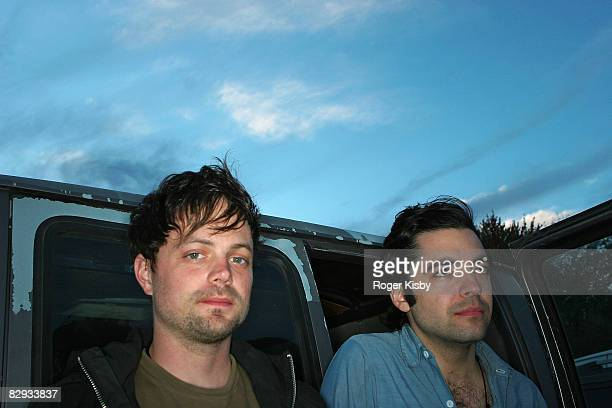 Joe Denardo and Kevin Doria of Growing backstage during the ATP New York 2008 music festival at Kutshers Country Club on September 20, 2008 in...
