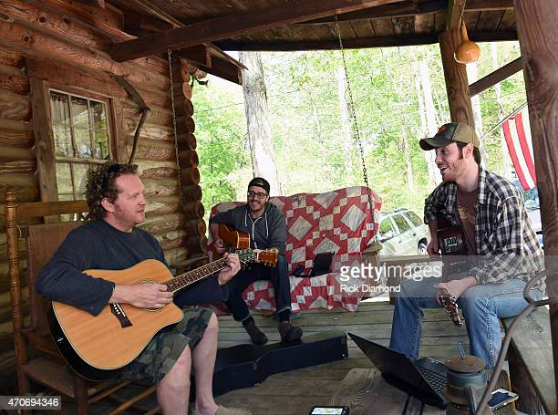 Joe Denim Ryan Creamer and Wyatt Mccubbin attend Country Rock Group Love And Theft Cabin Fever Writing Sessions on April 21 2015 in Dover Tennessee