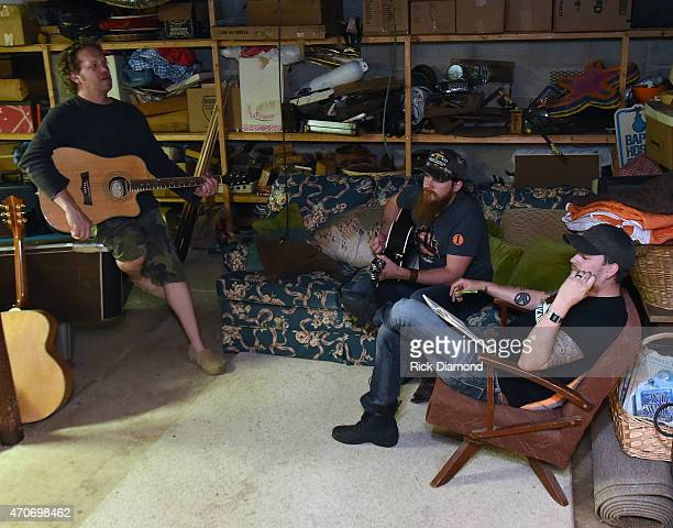 Joe Denim Tim Montana and Stephen Barker Liles attend Country Rock Group Love And Theft Cabin Fever Writing Sessions on April 21 2015 in Dover...