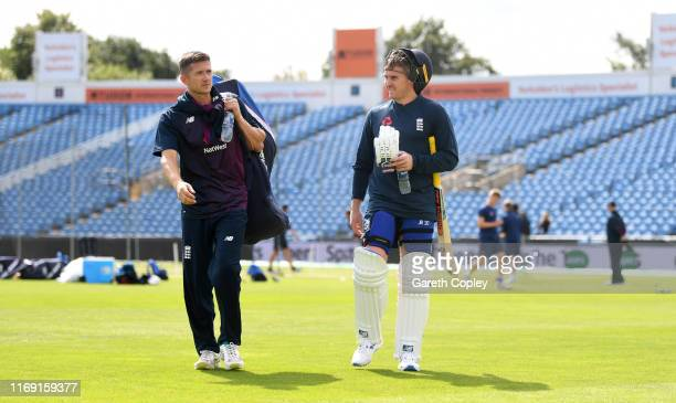 Joe Denly and Jason Roy of England during a nets session at Headingley on August 20, 2019 in Leeds, England.