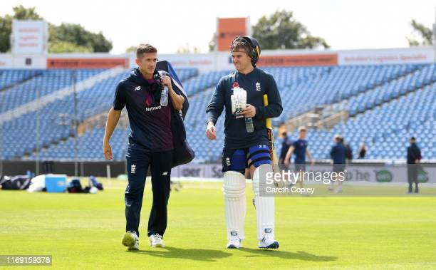 Joe Denly and Jason Roy of England during a nets session at Headingley on August 20 2019 in Leeds England