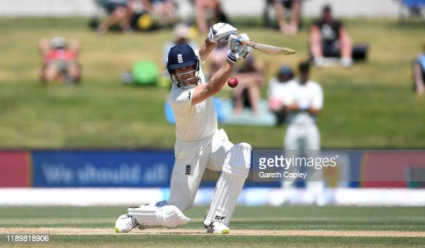 Joe Denly of England bats during day five of the first Test match between New Zealand and England at Bay Oval on November 25, 2019 in Mount...