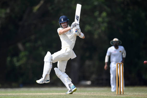 Batting for England Cricket during day three of the tour match between SLC Board President's XI and England at Chilaw Marians Cricket Club Ground on...